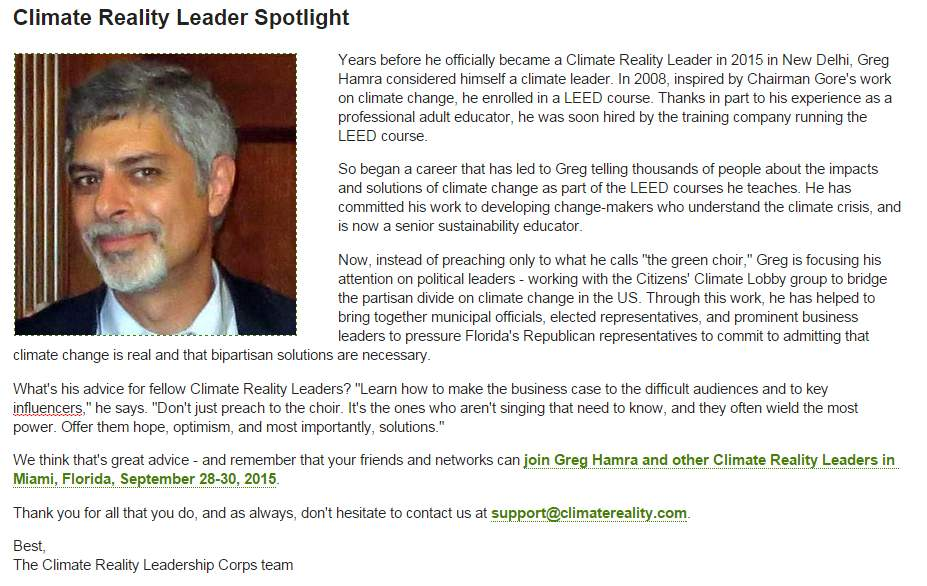 Climate Change Reality spotlight on Greg Hamra