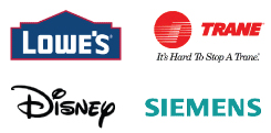 Corporate Clients: Lowe's, Trane, Disney, Siemens