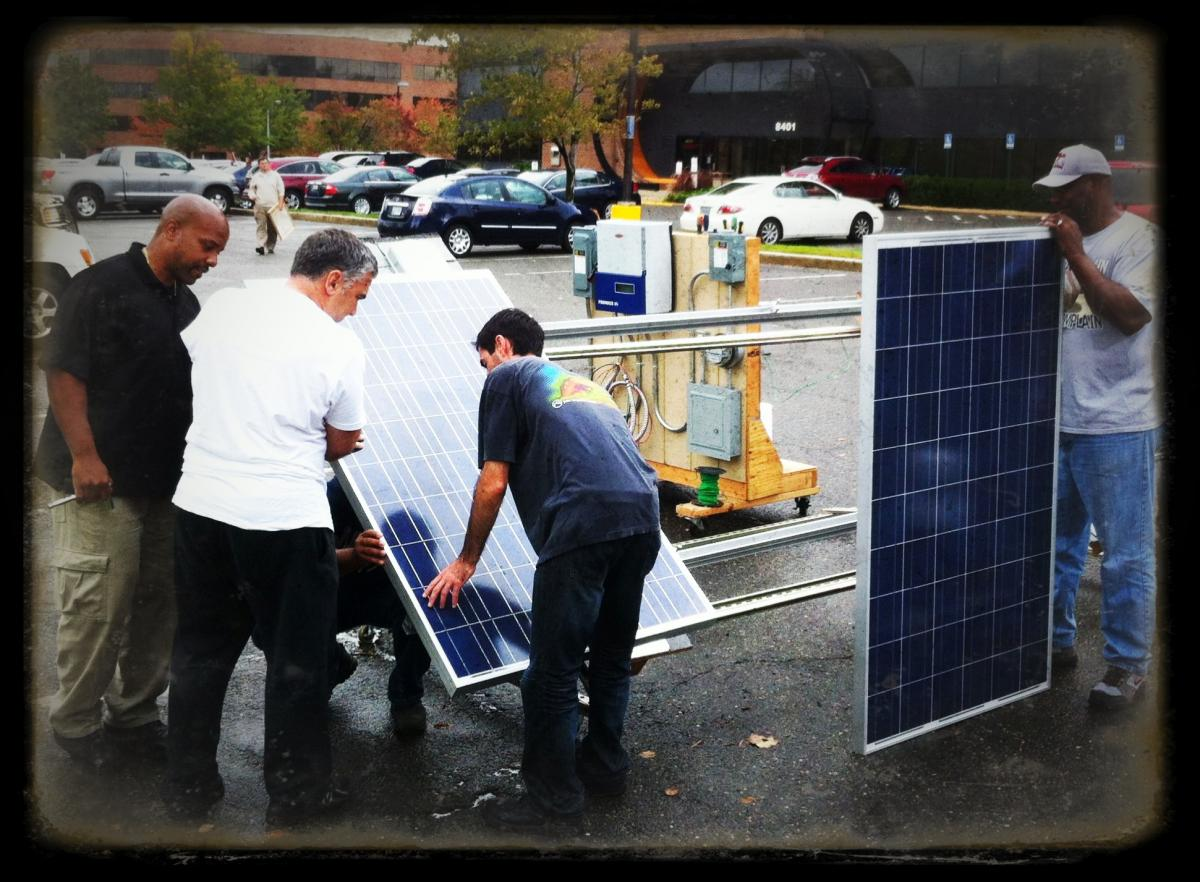 Students assemble solar array to earn solar certification