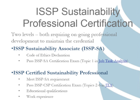 ISSP Sustainability Certification Requirements
