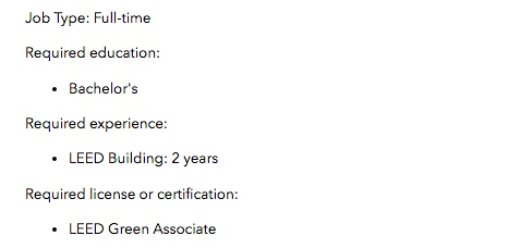 Example of LEED Green Associate in a job listing