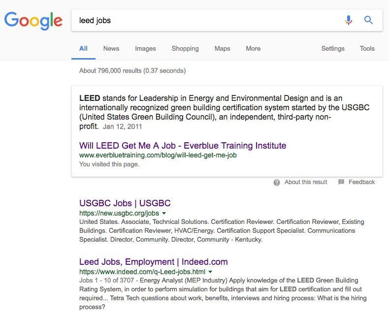 Google screenshot of leed job search results