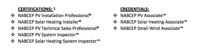 overview of NABCEP certifications image