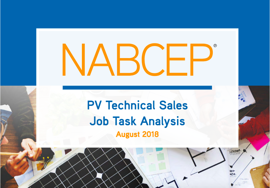 Nabcep To Update Its Solar Sales Jta In 2019 Everblue Training