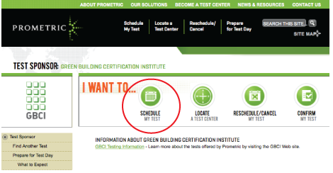 Schedule your LEED exam on Prometric's website