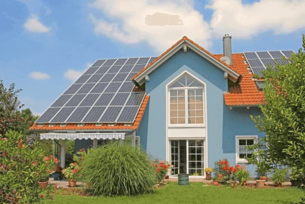 solar panels on a house image
