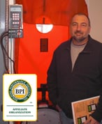 BPI Certification Training Instructor In Front of Blower Door