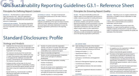 GRI reporting guidelines