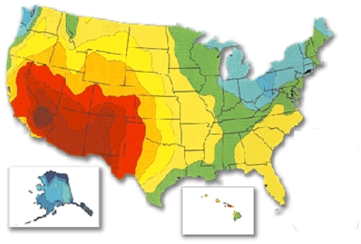 Walk Crawl Or Run With Solar - Radiation map in us