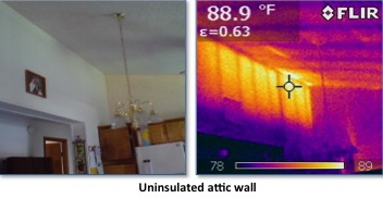 uninsulated attic - regular photo & infrared image