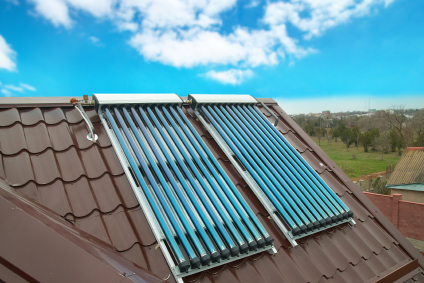 Solar Hot Water Heating System on Roof