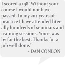 Dan Conlon Training Session Testimonial Passed with a 198