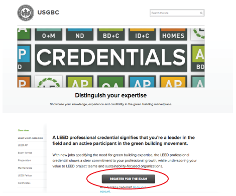 Register for your LEED Exam on USGBC's website